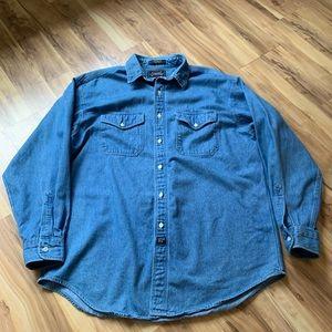 The Arrow Co denim button down shirt size L